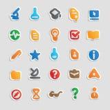 De pictogrammen van de sticker voor wetenschap Stock Afbeeldingen