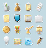 De pictogrammen van de sticker voor zaken en financiën Stock Fotografie