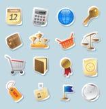 De pictogrammen van de sticker voor zaken en financiën stock illustratie