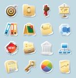 De pictogrammen van de sticker voor zaken en financiën Stock Foto's
