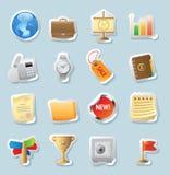 De pictogrammen van de sticker voor zaken en financiën royalty-vrije illustratie