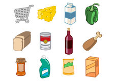 De pictogrammen van de supermarkt stock illustratie