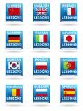 De Pictogrammen van de taal Stock Foto's