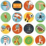 De pictogrammen van de teamsport geplaatst vlak Royalty-vrije Stock Fotografie