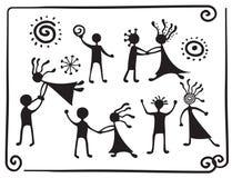 De pictogrammen van de tekening van dansende mensen Stock Foto