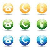 De pictogrammen van de telefoon Stock Afbeeldingen