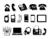 De pictogrammen van de telefoon Stock Foto's