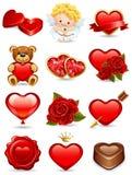 De pictogrammen van de valentijnskaart Stock Afbeelding