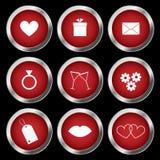 De pictogrammen van de valentijnskaart Stock Afbeeldingen