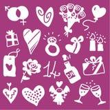 De pictogrammen van de valentijnskaart - silhouetten Stock Foto