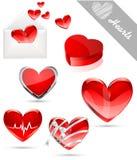 De pictogrammen van de valentijnskaart van harten Stock Afbeeldingen