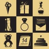 De pictogrammen van de valentijnskaartendag De elementen van de valentijnskaartendag De voorwerpen van de valentijnskaartendag Stock Afbeelding
