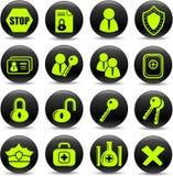 De pictogrammen van de veiligheid Stock Foto's