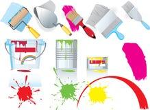 De pictogrammen van de verf en het schilderen Stock Afbeelding