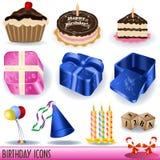 De pictogrammen van de verjaardag Stock Afbeeldingen