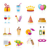De pictogrammen van de verjaardag en van de partij Stock Foto's