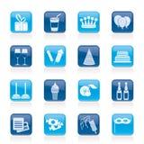 De pictogrammen van de verjaardag en van de partij Royalty-vrije Stock Afbeelding