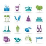 De pictogrammen van de verjaardag en van de partij Royalty-vrije Stock Foto