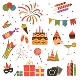 De pictogrammen van de verjaardagspartij Royalty-vrije Stock Foto