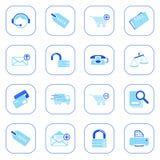 De pictogrammen van de verkoop en het winkelen - blauwe reeks Stock Illustratie