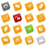 De pictogrammen van de verkoop en het winkelen - kleverige reeks Stock Foto's
