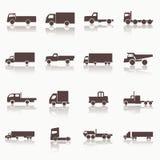 De pictogrammen van de vervoervrachtwagen Stock Afbeeldingen