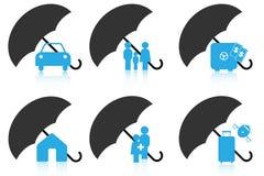 De pictogrammen van de verzekering Stock Afbeeldingen