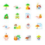 De pictogrammen van de verzekering Stock Afbeelding