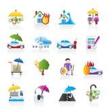 De pictogrammen van de verzekering en van het risico Royalty-vrije Stock Fotografie