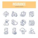 De Pictogrammen van de verzekeringskrabbel vector illustratie