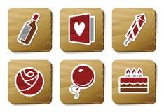 De pictogrammen van de viering | De reeks van het karton Stock Foto