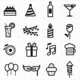 De pictogrammen van de vieringspartij Stock Foto's