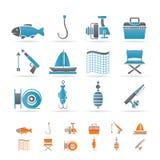 De pictogrammen van de visserij en van de vakantie Stock Afbeeldingen