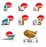 De pictogrammen van de website en van Internet Stock Foto's