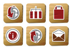 De pictogrammen van de website en van Internet | De reeks van het karton Stock Foto's