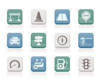 De pictogrammen van de weg, van de navigatie en van het verkeer Stock Foto