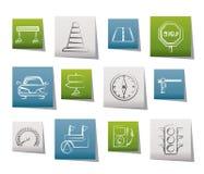 De pictogrammen van de weg, van de navigatie en van het verkeer Stock Foto's
