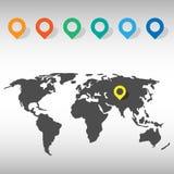 De pictogrammen van de wereldkaart geplaatst voor om het even welk gebruik groot Vector eps10 Stock Foto