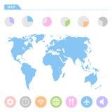 De pictogrammen van de wereldkaart geplaatst voor om het even welk gebruik groot Vector eps10 Stock Fotografie