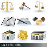 De pictogrammen van de wet en van de rechtvaardigheid Stock Afbeelding