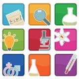 De pictogrammen van de wetenschap Stock Afbeeldingen