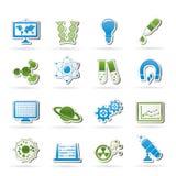 De Pictogrammen van de wetenschap, van het onderzoek en van het onderwijs Royalty-vrije Stock Fotografie