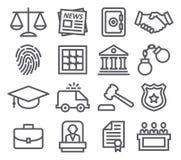 De pictogrammen van de wetslijn Stock Foto's