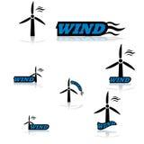 De pictogrammen van de windturbine Stock Foto