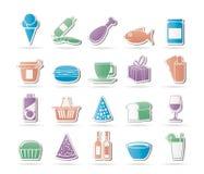 De Pictogrammen van de winkel en van het Voedsel Stock Foto