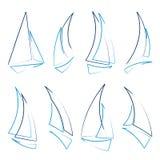 De pictogrammen van de zeilboot Stock Foto