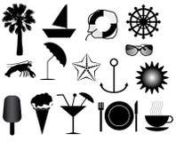 De pictogrammen van de zomer Stock Fotografie