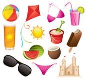 De pictogrammen van de zomer Stock Foto's