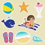 De pictogrammen van de zomer Stock Afbeelding