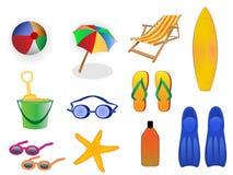 De pictogrammen van de zomer en van het strand Stock Foto's
